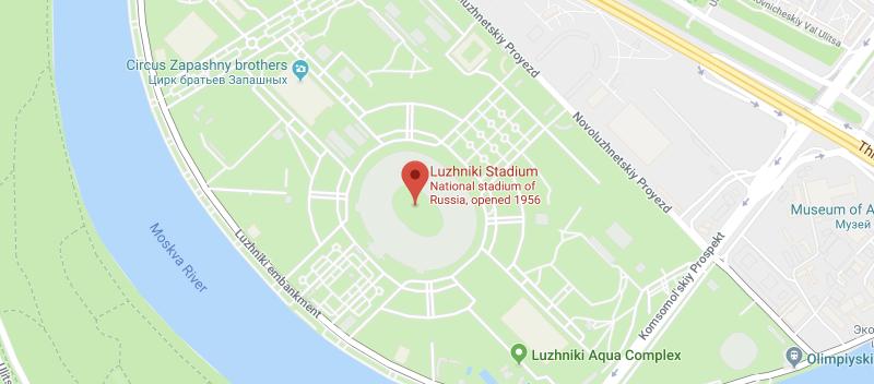 Luzhniki Stadium on the map