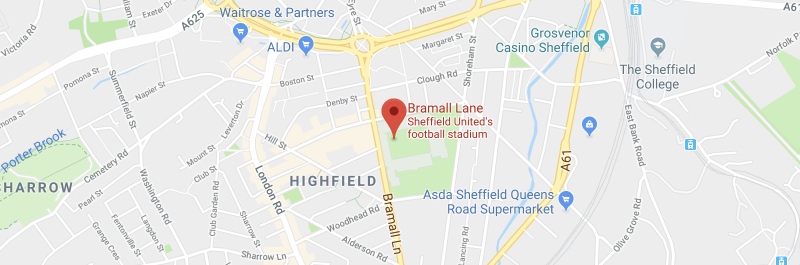 Bramall Lane on the map