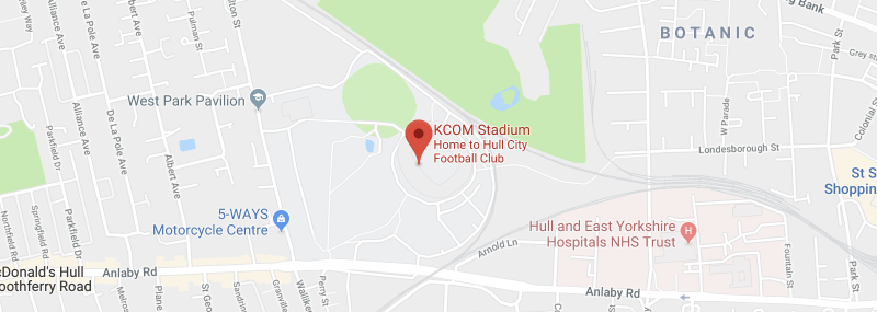KCOM Stadium on the map