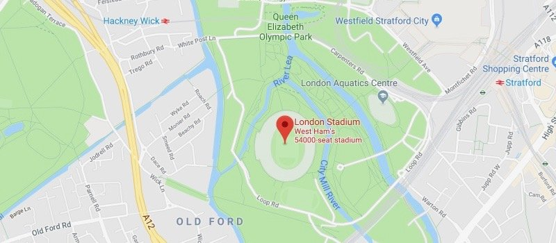 London Stadium on the map