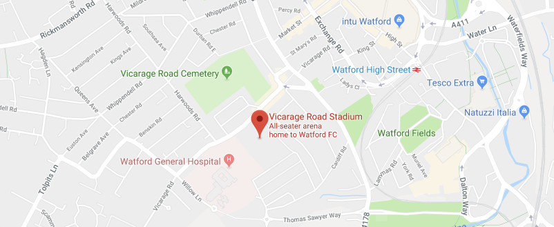 Vicarage Road on the map