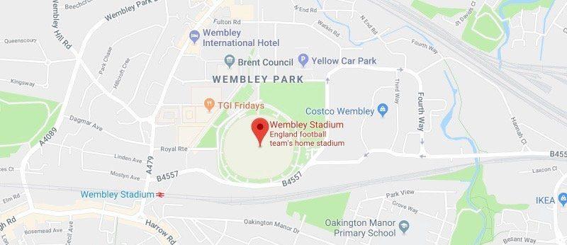 Wembley Stadium on the map
