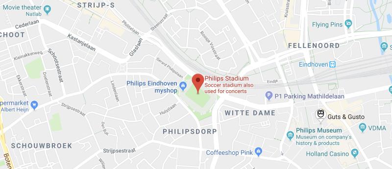 Philips Stadium on the map