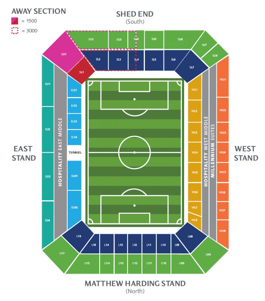 карта секторов стадиона Стэмфорд Бридж