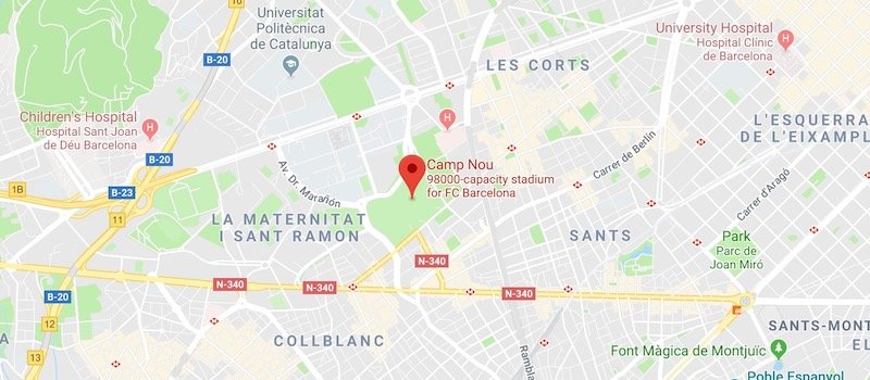 Camp Nou on the map