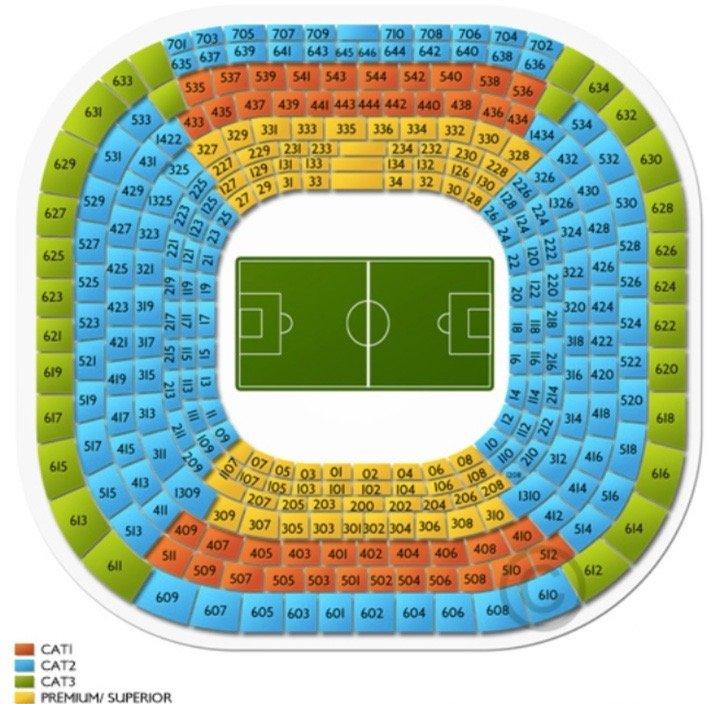 карта секторов стадиона Сантьяго Бернабеу