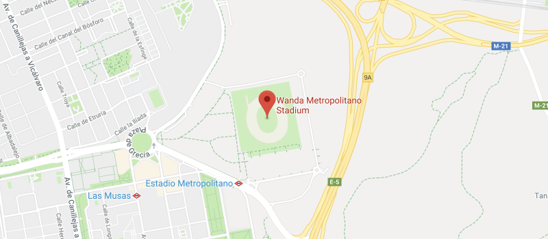 Wanda Metropolitano on the map