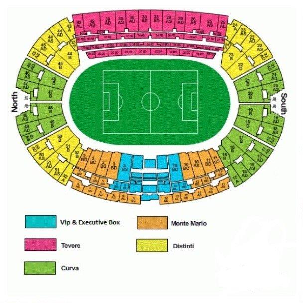 Stadio Olimpico seating plan