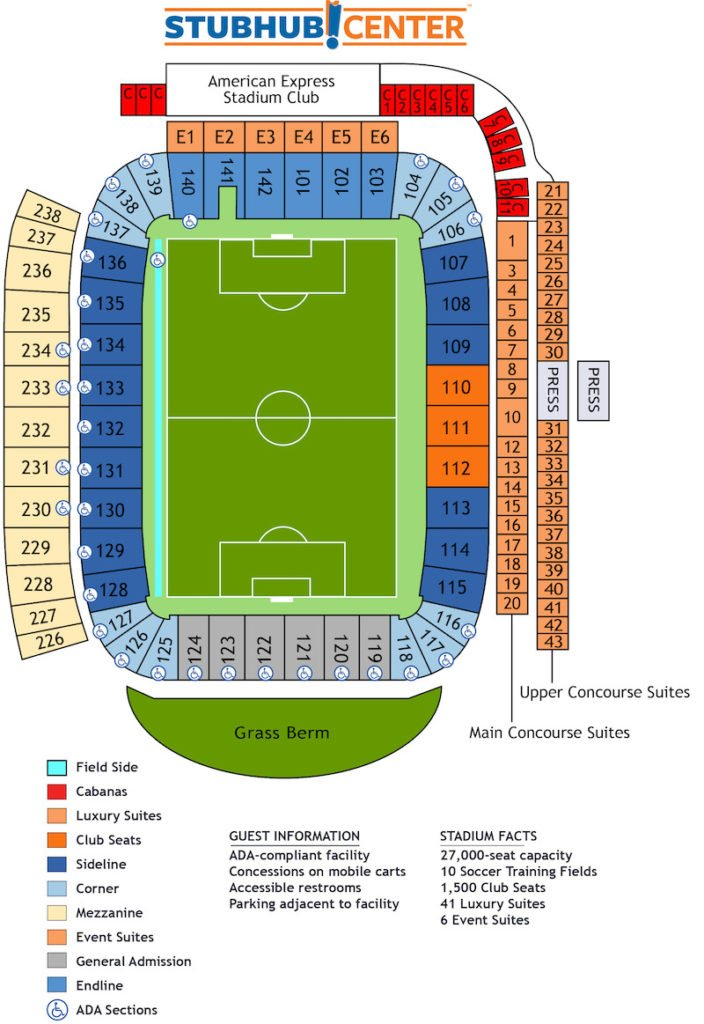Dignity Health Sports Park seating plan