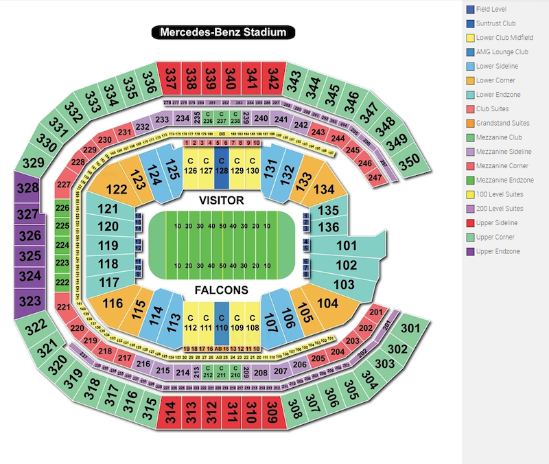 Mercedes-Benz Stadium seating plan