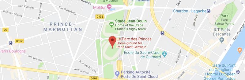 Le Parc des Princes on the map