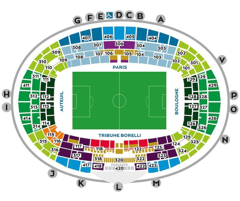 Parc des Princes seating plan
