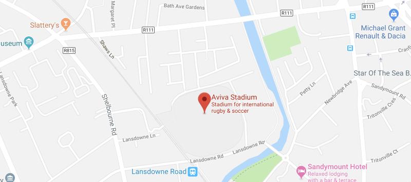 Aviva Stadium on the map