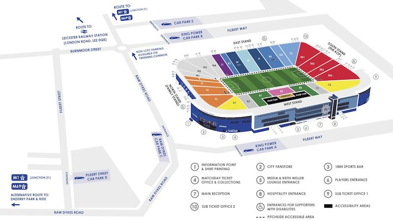 King Power Stadium seating plan