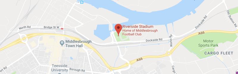 Riverside Stadium on the map