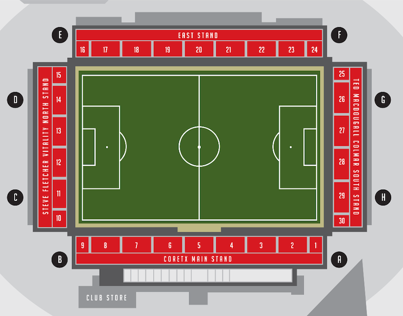 Vitality Stadium seating plan