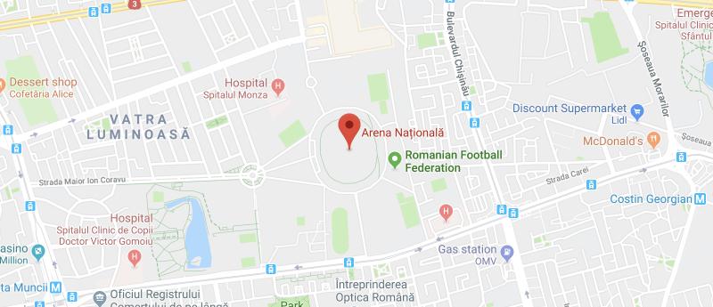 Национальный стадион на карте Бухареста