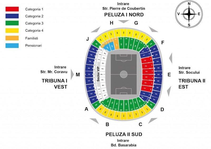 карта секторов Национального стадиона в Бухаресте