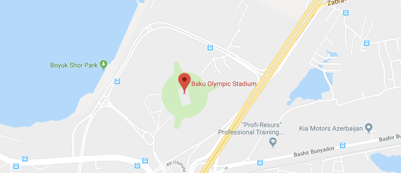 Baku Olympic Stadium on the map