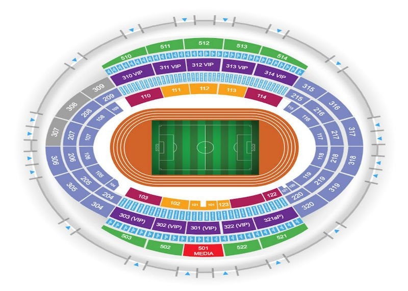 Baku Olympic Stadium seating plan