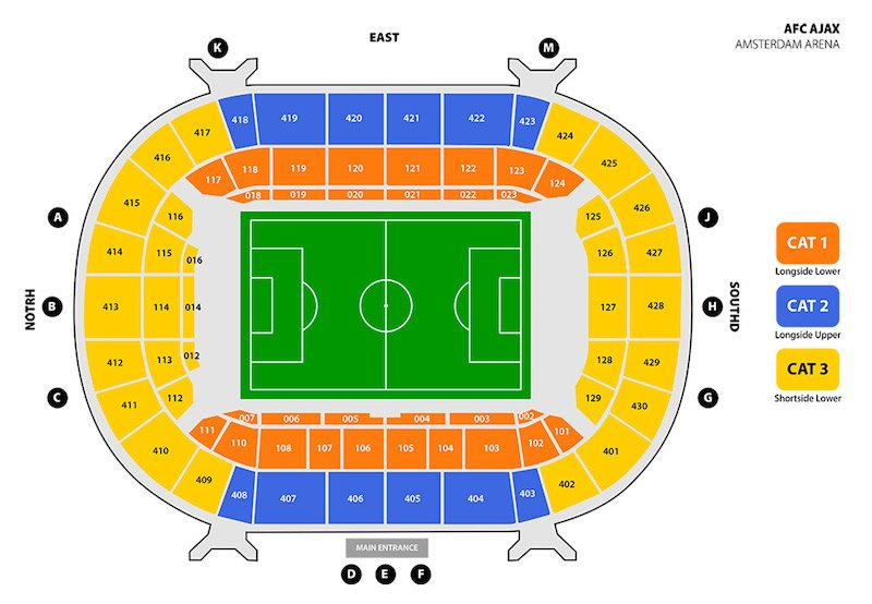 Johan Cruijff Arena seating plan