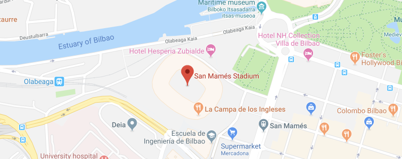 San Mames Stadium on the map