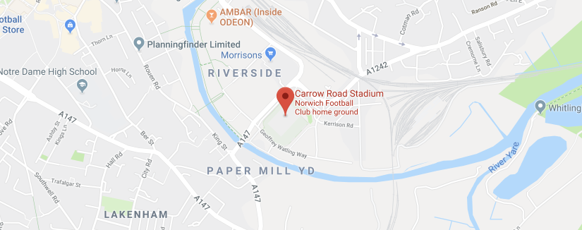 Carrow Road Stadium on the map