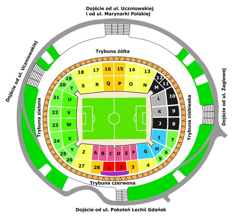 Stadion Energa Gdansk seating plan