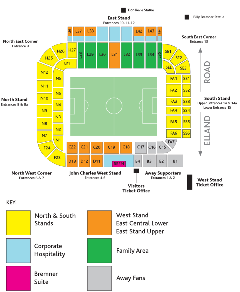 Elland Road stadium seating plan